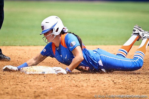 Florida senior Kelsey Bruder slides into second base during the Gator's 2-3 loss to the UCLA Bruins on Sunday, May 22, 2011 at Katie Seashole Pressly Stadium in Gainesville, Fla. / photo by Rob Foldy