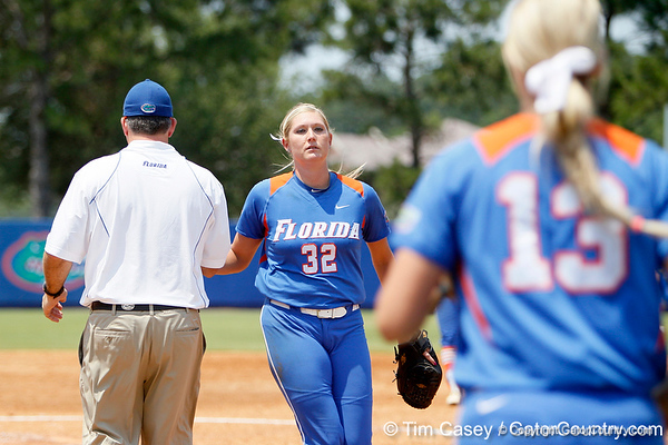 Florida head coach Tim Walton takes senior pitcher Stephanie Brombacher out of the game during the Gators' 3-2 loss to the UCLA Bruins in the NCAA Regionals on Sunday, May 22, 2011 at Katie Seashole Pressly Softball Stadium in Gainesville, Fla. / Gator Country photo by Tim Casey