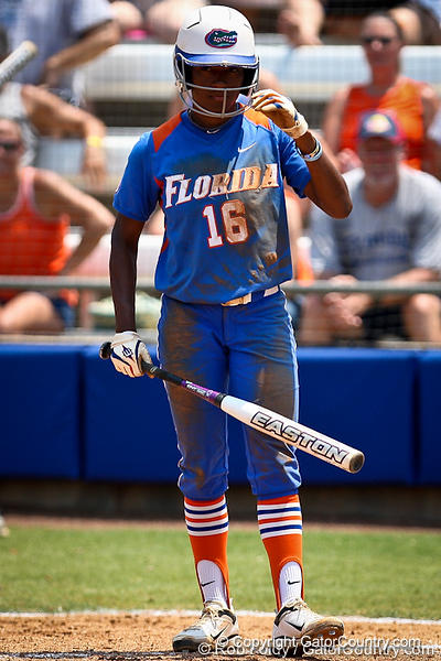 Florida junior center fielder Michelle Moultrie looks for a sign during the Gator's 2-3 loss to the UCLA Bruins on Sunday, May 22, 2011 at Katie Seashole Pressly Stadium in Gainesville, Fla. / photo by Rob Foldy