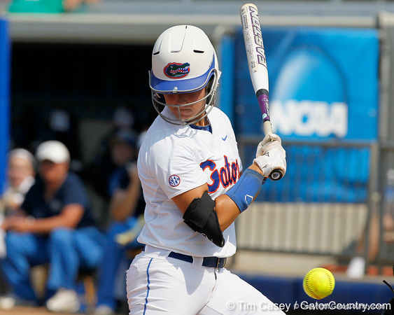 Florida senior Kelsey Bruder avoids getting hit during the Gators' 11-3 win against the UCLA Bruins in the NCAA Regional final on Sunday, May 22, 2011 at Katie Seashole Pressly Softball Stadium in Gainesville, Fla. / Gator Country photo by Tim Casey