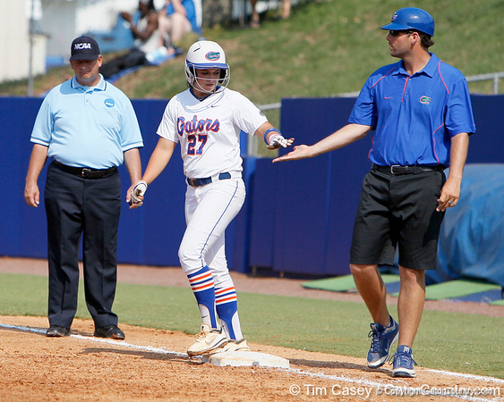 Florida freshman shortstop Cheyenne Coyle reaches first base during the Gators' 11-3 win against the UCLA Bruins in the NCAA Regional final on Sunday, May 22, 2011 at Katie Seashole Pressly Softball Stadium in Gainesville, Fla. / Gator Country photo by Tim Casey