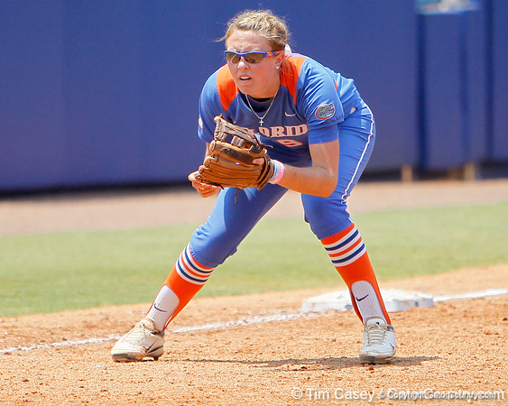 Florida freshman third baseman Kasey Fagan readies for a pitch during the Gators' 3-2 loss to the UCLA Bruins in the NCAA Regionals on Sunday, May 22, 2011 at Katie Seashole Pressly Softball Stadium in Gainesville, Fla. / Gator Country photo by Tim Casey