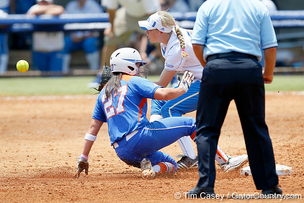 Florida freshman shortstop Cheyenne Coyle steals second base during the Gators' 3-2 loss to the UCLA Bruins in the NCAA Regionals on Sunday, May 22, 2011 at Katie Seashole Pressly Softball Stadium in Gainesville, Fla. / Gator Country photo by Tim Casey