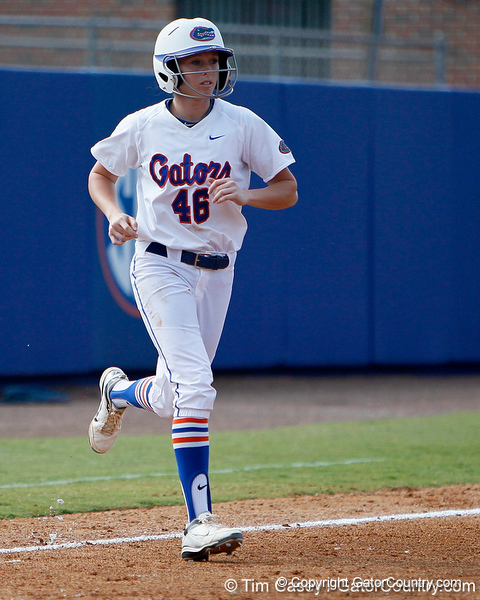 Florida junior Ellie Langley enters the game as a pinch runner during the Gators' 11-3 win against the UCLA Bruins in the NCAA Regional final on Sunday, May 22, 2011 at Katie Seashole Pressly Softball Stadium in Gainesville, Fla. / Gator Country photo by Tim Casey