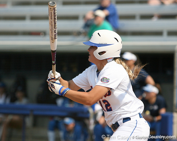 Florida senior first baseman Megan Bush follows through on a hit during the Gators' 11-3 win against the UCLA Bruins in the NCAA Regional final on Sunday, May 22, 2011 at Katie Seashole Pressly Softball Stadium in Gainesville, Fla. / Gator Country photo by Tim Casey