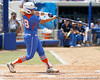 Florida senior catcher Tiffany DeFelice hits a sacrifice fly during the Gators' 3-2 loss to the UCLA Bruins in the NCAA Regionals on Sunday, May 22, 2011 at Katie Seashole Pressly Softball Stadium in Gainesville, Fla. / Gator Country photo by Tim Casey