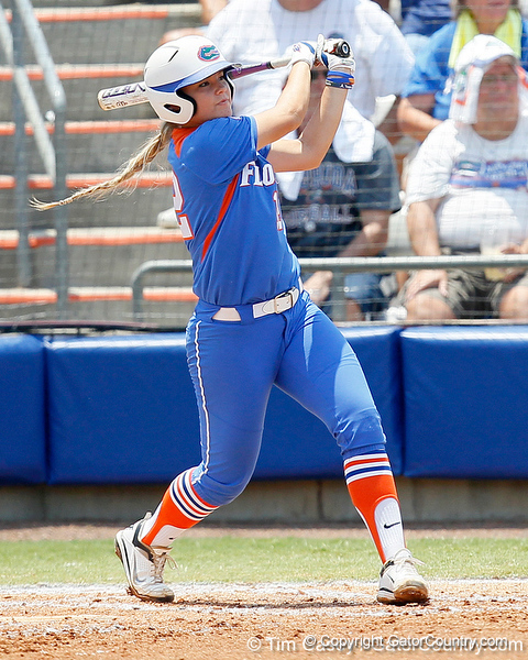 Florida senior first baseman Megan Bush follows through on a swing during the Gators' 3-2 loss to the UCLA Bruins in the NCAA Regionals on Sunday, May 22, 2011 at Katie Seashole Pressly Softball Stadium in Gainesville, Fla. / Gator Country photo by Tim Casey