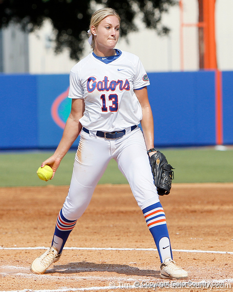Florida freshman pitcher Hannah Rogers delivers a pitch during the Gators' 11-3 win against the UCLA Bruins in the NCAA Regional final on Sunday, May 22, 2011 at Katie Seashole Pressly Softball Stadium in Gainesville, Fla. / Gator Country photo by Tim Casey