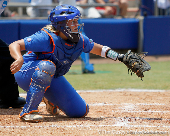 Florida senior catcher Tiffany DeFelice watches the ball during the Gators' 3-2 loss to the UCLA Bruins in the NCAA Regionals on Sunday, May 22, 2011 at Katie Seashole Pressly Softball Stadium in Gainesville, Fla. / Gator Country photo by Tim Casey