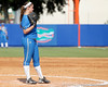 UCLA pitcher Aleah Macon watches Florida senior Kelsey Bruder after hitting her with a pitch during the Gators' 11-3 win against the UCLA Bruins in the NCAA Regional final on Sunday, May 22, 2011 at Katie Seashole Pressly Softball Stadium in Gainesville, Fla. / Gator Country photo by Tim Casey
