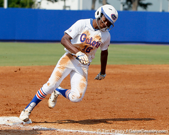 Florida junior center fielder Michelle Moultrie rounds third base during the Gators' 11-3 win against the UCLA Bruins in the NCAA Regional final on Sunday, May 22, 2011 at Katie Seashole Pressly Softball Stadium in Gainesville, Fla. / Gator Country photo by Tim Casey
