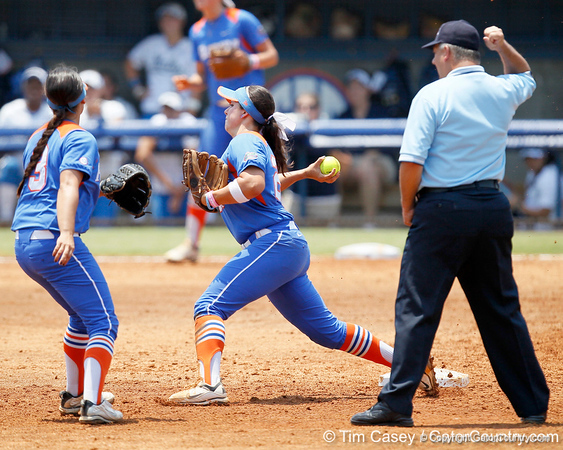Florida freshman shortstop Cheyenne Coyle turns a double play during the Gators' 3-2 loss to the UCLA Bruins in the NCAA Regionals on Sunday, May 22, 2011 at Katie Seashole Pressly Softball Stadium in Gainesville, Fla. / Gator Country photo by Tim Casey