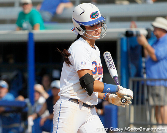 Florida senior Kelsey Bruder reacts after getting hit by a pitch during the Gators' 11-3 win against the UCLA Bruins in the NCAA Regional final on Sunday, May 22, 2011 at Katie Seashole Pressly Softball Stadium in Gainesville, Fla. / Gator Country photo by Tim Casey