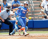 Florida sophomore Brittany Schutte hits a ground ball during the Gators' 3-2 loss to the UCLA Bruins in the NCAA Regionals on Sunday, May 22, 2011 at Katie Seashole Pressly Softball Stadium in Gainesville, Fla. / Gator Country photo by Tim Casey