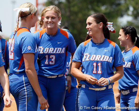 Florida senior pitcher Stephanie Brombacher, freshman pitcher Hannah Rogers and sophomore Ensley Gammel talk during the Gators' 3-2 loss to the UCLA Bruins in the NCAA Regionals on Sunday, May 22, 2011 at Katie Seashole Pressly Softball Stadium in Gainesville, Fla. / Gator Country photo by Tim Casey