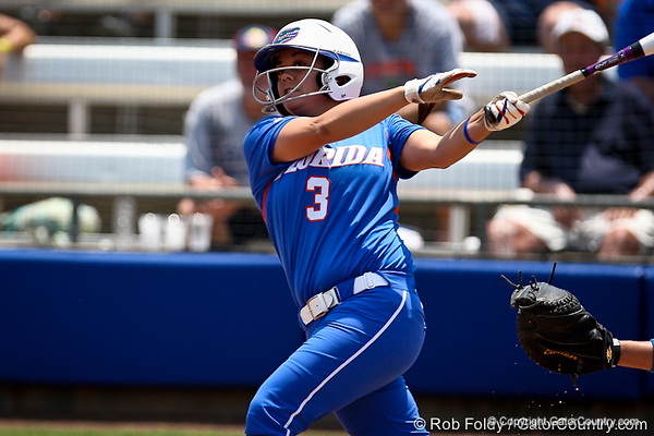 Florida senior second baseman Aja Paculba watches her hit during the Gator's 2-3 loss to the UCLA Bruins on Sunday, May 22, 2011 at Katie Seashole Pressly Stadium in Gainesville, Fla. / photo by Rob Foldy
