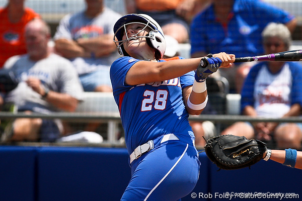 Florida senior catcher Tiffany DeFelice reacts to a hit during the Gator's 2-3 loss to the UCLA Bruins on Sunday, May 22, 2011 at Katie Seashole Pressly Stadium in Gainesville, Fla. / photo by Rob Foldy