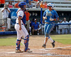 Florida senior catcher Tiffany DeFelice watches as UCLA scores a run during the Gators' 11-3 win against the Bruins in the NCAA Regional final on Sunday, May 22, 2011 at Katie Seashole Pressly Softball Stadium in Gainesville, Fla. / Gator Country photo by Tim Casey