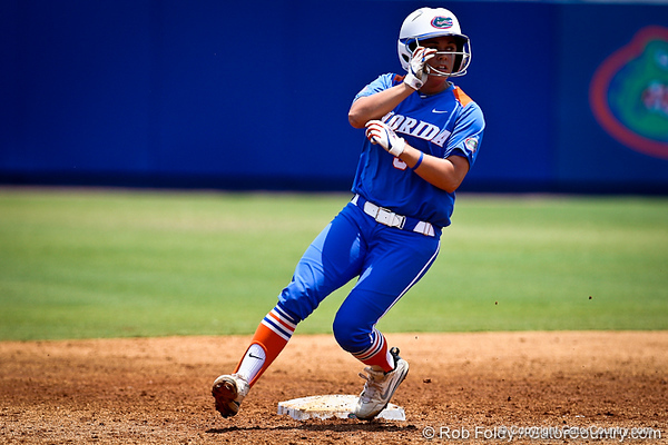 Florida senior second baseman Aja Paculba crosses second base without opposition during the Gator's 2-3 loss to the UCLA Bruins on Sunday, May 22, 2011 at Katie Seashole Pressly Stadium in Gainesville, Fla. / photo by Rob Foldy