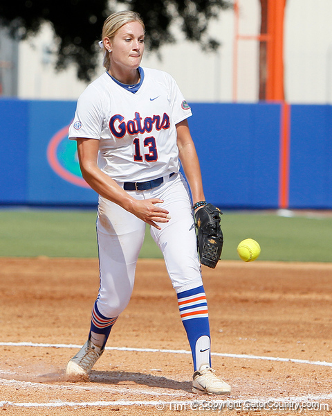 Florida freshman pitcher Hannah Rogers throws the ball during the Gators' 11-3 win against the UCLA Bruins in the NCAA Regional final on Sunday, May 22, 2011 at Katie Seashole Pressly Softball Stadium in Gainesville, Fla. / Gator Country photo by Tim Casey
