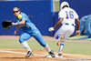 Florida junior center fielder Michelle Moultrie beats out an infield hit during the Gators' 11-3 win against the UCLA Bruins in the NCAA Regional final on Sunday, May 22, 2011 at Katie Seashole Pressly Softball Stadium in Gainesville, Fla. / Gator Country photo by Tim Casey
