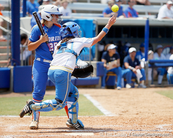Florida senior catcher Tiffany DeFelice watches as UCLA catcher Grace Murray throws to third base during the Gators' 3-2 loss to the Bruins in the NCAA Regionals on Sunday, May 22, 2011 at Katie Seashole Pressly Softball Stadium in Gainesville, Fla. / Gator Country photo by Tim Casey