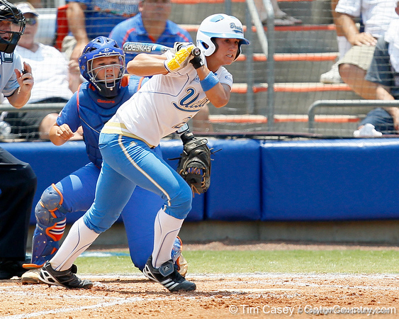 Florida senior catcher Tiffany DeFelice watches as the ball after a hit during the Gators' 3-2 loss to the UCLA Bruins in the NCAA Regionals on Sunday, May 22, 2011 at Katie Seashole Pressly Softball Stadium in Gainesville, Fla. / Gator Country photo by Tim Casey