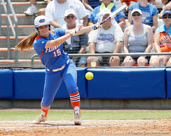 Florida sophomore Samantha Holle hits a ground ball during the Gators' 3-2 loss to the UCLA Bruins in the NCAA Regionals on Sunday, May 22, 2011 at Katie Seashole Pressly Softball Stadium in Gainesville, Fla. / Gator Country photo by Tim Casey