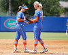 Florida freshman shortstop Cheyenne Coyle talks with freshman pitcher Hannah Rogers during the Gators' 3-2 loss to the UCLA Bruins in the NCAA Regionals on Sunday, May 22, 2011 at Katie Seashole Pressly Softball Stadium in Gainesville, Fla. / Gator Country photo by Tim Casey