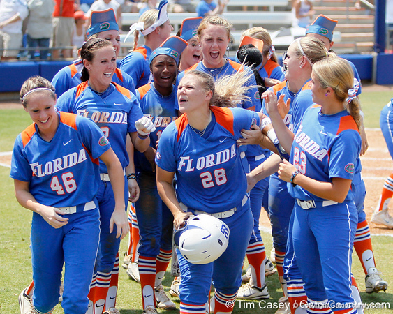 Florida senior catcher Tiffany DeFelice celebrates after driving in a run during the Gators' 3-2 loss to the UCLA Bruins in the NCAA Regionals on Sunday, May 22, 2011 at Katie Seashole Pressly Softball Stadium in Gainesville, Fla. / Gator Country photo by Tim Casey