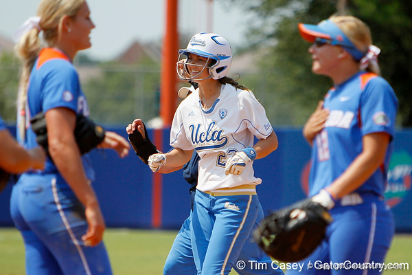 UCLA's Amy Crawford celebrates after the Gators' 3-2 loss to the Bruins in the NCAA Regionals on Sunday, May 22, 2011 at Katie Seashole Pressly Softball Stadium in Gainesville, Fla. / Gator Country photo by Tim Casey