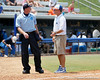 Florida head coach Tim Walton talks with an umpire during the Gators' 3-2 loss to the UCLA Bruins in the NCAA Regionals on Sunday, May 22, 2011 at Katie Seashole Pressly Softball Stadium in Gainesville, Fla. / Gator Country photo by Tim Casey