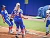 Florida senior first baseman Megan Bush runs the ball to first base to record an out during the Gator's 2-3 loss to the UCLA Bruins on Sunday, May 22, 2011 at Katie Seashole Pressly Stadium in Gainesville, Fla. / photo by Rob Foldy