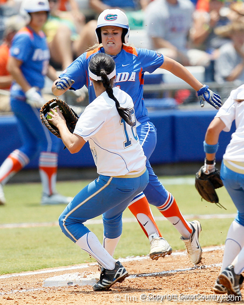 Florida sophomore Brittany Schutte is out at first base during the Gators' 3-2 loss to the UCLA Bruins in the NCAA Regionals on Sunday, May 22, 2011 at Katie Seashole Pressly Softball Stadium in Gainesville, Fla. / Gator Country photo by Tim Casey