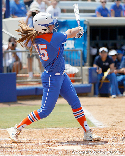 Florida sophomore Samantha Holle follows through on a swing during the Gators' 3-2 loss to the UCLA Bruins in the NCAA Regionals on Sunday, May 22, 2011 at Katie Seashole Pressly Softball Stadium in Gainesville, Fla. / Gator Country photo by Tim Casey