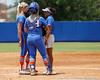 Florida senior pitcher Stephanie Brombacher talks with assistant coach Jennifer Rocha during the Gators' 3-2 loss to the UCLA Bruins in the NCAA Regionals on Sunday, May 22, 2011 at Katie Seashole Pressly Softball Stadium in Gainesville, Fla. / Gator Country photo by Tim Casey