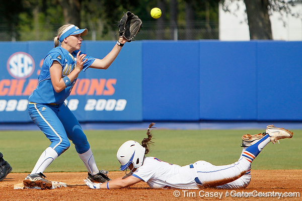 Florida senior second baseman Aja Paculba steals second base during the Gators' 11-3 win against the UCLA Bruins in the NCAA Regional final on Sunday, May 22, 2011 at Katie Seashole Pressly Softball Stadium in Gainesville, Fla. / Gator Country photo by Tim Casey