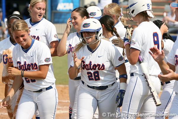 Florida senior catcher Tiffany DeFelice celebrates after hitting a home run during the Gators' 11-3 win against the UCLA Bruins in the NCAA Regional final on Sunday, May 22, 2011 at Katie Seashole Pressly Softball Stadium in Gainesville, Fla. / Gator Country photo by Tim Casey