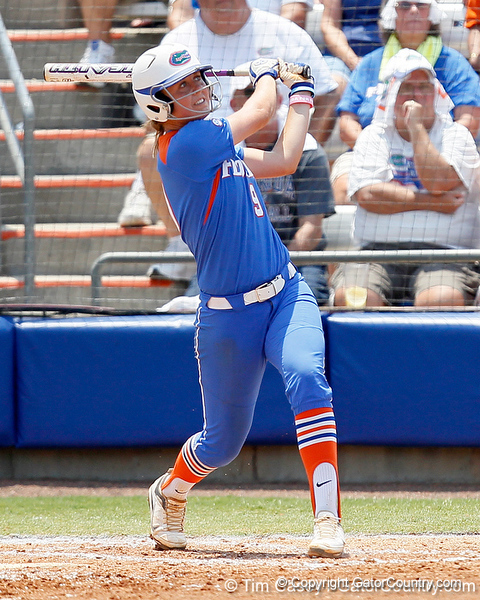 Florida freshman third baseman Kasey Fagan watches a fly ball during the Gators' 3-2 loss to the UCLA Bruins in the NCAA Regionals on Sunday, May 22, 2011 at Katie Seashole Pressly Softball Stadium in Gainesville, Fla. / Gator Country photo by Tim Casey