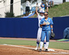 Florida senior first baseman Megan Bush gestures to teammates in the dugout during the Gators' 11-3 win against the UCLA Bruins in the NCAA Regional final on Sunday, May 22, 2011 at Katie Seashole Pressly Softball Stadium in Gainesville, Fla. / Gator Country photo by Tim Casey