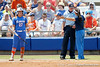 UCLA head coach Kelly Inouye-Perez argues with an umpire as Florida freshman shortstop Cheyenne Coyle wait to bat during the Gators' 3-2 loss to the Bruins in the NCAA Regionals on Sunday, May 22, 2011 at Katie Seashole Pressly Softball Stadium in Gainesville, Fla. / Gator Country photo by Tim Casey