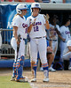 Florida senior catcher Tiffany DeFelice talks with senior first baseman Megan Bush during the Gators' 11-3 win against the UCLA Bruins in the NCAA Regional final on Sunday, May 22, 2011 at Katie Seashole Pressly Softball Stadium in Gainesville, Fla. / Gator Country photo by Tim Casey