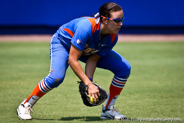 Florida senior Kelsey Bruder fields a ground ball during the Gator's 2-3 loss to the UCLA Bruins on Sunday, May 22, 2011 at Katie Seashole Pressly Stadium in Gainesville, Fla. / photo by Rob Foldy