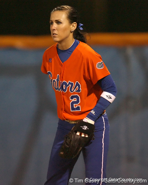 Florida junior Kelsey Bruder stands ready in right field during the Gators' 6-1 win against the Jacksonville Dolphins on Wednesday, February 17, 2010 at Katie Seashole Pressly Softball Stadium in Gainesville, Fla. / Gator Country photo by Tim Casey