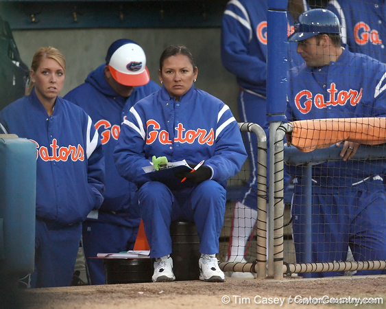 Florida assistant coach Jennifer Rocha looks on during the Gators' 6-1 win against the Jacksonville Dolphins on Wednesday, February 17, 2010 at Katie Seashole Pressly Softball Stadium in Gainesville, Fla. / Gator Country photo by Tim Casey