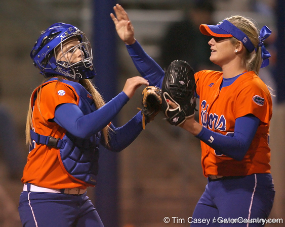 Florida freshman Brittany Schutte congratulates Stephanie Brombacher during the Gators' 6-1 win against the Jacksonville Dolphins on Wednesday, February 17, 2010 at Katie Seashole Pressly Softball Stadium in Gainesville, Fla. / Gator Country photo by Tim Casey