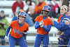 Florida junior Kelsey Bruder and Michelle Moultrie wait for Tiffany DeFelice at home plate during the Gators' 6-1 win against the Jacksonville Dolphins on Wednesday, February 17, 2010 at Katie Seashole Pressly Softball Stadium in Gainesville, Fla. / Gator Country photo by Tim Casey