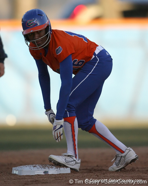 Florida sophomore Michelle Moultrie stands at second base during the Gators' 6-1 win against the Jacksonville Dolphins on Wednesday, February 17, 2010 at Katie Seashole Pressly Softball Stadium in Gainesville, Fla. / Gator Country photo by Tim Casey