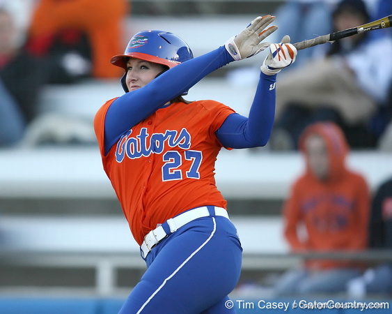 Florida senior third baseman Corrie Brooks bats during the Gators' 6-1 win against the Jacksonville Dolphins on Wednesday, February 17, 2010 at Katie Seashole Pressly Softball Stadium in Gainesville, Fla. / Gator Country photo by Tim Casey