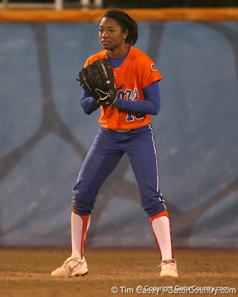 Florida sophomore Michelle Moultrie stands ready in center field during the Gators' 6-1 win against the Jacksonville Dolphins on Wednesday, February 17, 2010 at Katie Seashole Pressly Softball Stadium in Gainesville, Fla. / Gator Country photo by Tim Casey
